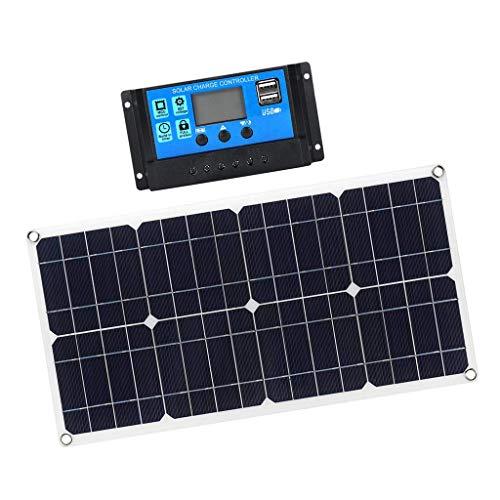 ZLININ Cargador de Goteo portátil de Cargador de batería para automóviles solares Flexible, línea de Clip de Carga para la Bote de Motocicleta RV con Controlador de Carga 10A