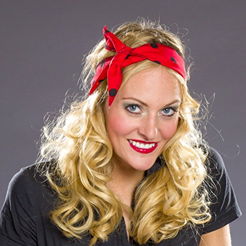 Amakando Rock'n'Roll Kopftuch - rot-schwarz - 50er Jahre Haarband Fifties Kopfband Rockabella Haarschmuck Gepunktetes Stirnband 50er Jahre Haarband