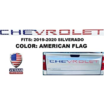 Funsport Tailgate Insert Letters 3M Adhesive /& 3D Raised Tailgate Letters for 2019 2020 Chevrolet Silverado Accessories American Flag