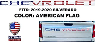 Muzzys Premium Tailgate Insert Letters for 2019 2020 Chevrolet Silverado - 3M Adhesive & 3D Raised Embossed Tail gate SILVERADO Lettering - US USA American Flag - MADE IN THE USA!