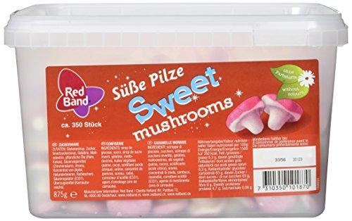 Red Band Süße Pilze - Großpackung: 350 Stück (Total: 875 g) - Niedliche Pilze - Süßigkeiten aus Schaumzucker mit Süßem Erdbeergeschmack - Holländische Qualität - Süßigkeiten