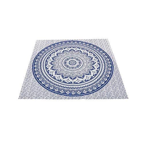 Manta fouta Cuadrada de algodón 180 x 180 cm Mumbai Azul de Soleil d'Ocre