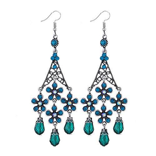 YAZILIND Mesh Strass Haken Ohrringe Quaste Ohrring indischen Bollywood Design Legierung Schmuck für Frauen Mädchen Geschenk Anweisung Zubehör (blau)