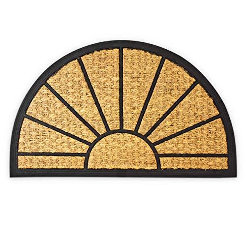 Relaxdays – Felpudo semicircular para la Entrada de su hogar Hecho de Fibras de Coco y PVC con Medidas 75 x 45 cm Antideslizante Elemento Decorativo, Color Natural