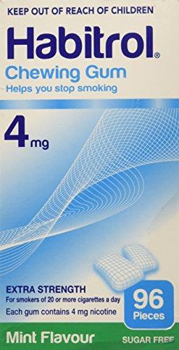 Habitrol Nicotine Gum, 4mg MINT flavor COATED gum. 96 pieces per box