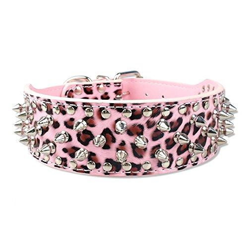 Berry Tachonado claveteado de cuero collar de perro 40 Bullet Spikes tachonado Entrenamiento de mascotas Caminar Mostrar accesorios de apariencia S leopardo de las rosas
