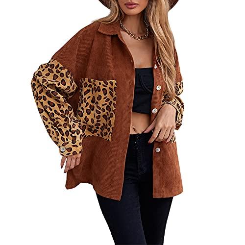 Chaqueta de pana casual de manga larga con estampado de leopardo y cuello vuelto y botones para mujer Abrigo corto E-Girls Otoño Invierno desgaste, marrón, M