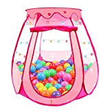 Tikolus Pop Up Princess Tent, Toddler Girl Toys Baby Ball Pit with Colorful Star Lights, Foldable Kid Play Tent with Carrying Bag, Indoor Outdoor 1 2 3 Year Old Girls Gift (Balls Not Included)