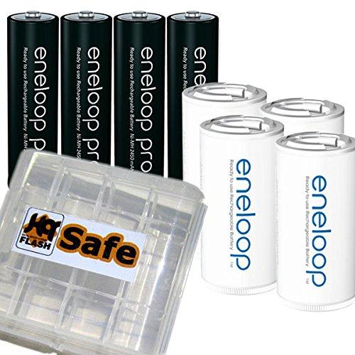 kQ 4er Panasonic Eneloop PRO AA Akkus und 4er eneloop Adapter auf Baby C und kQ-flash Box