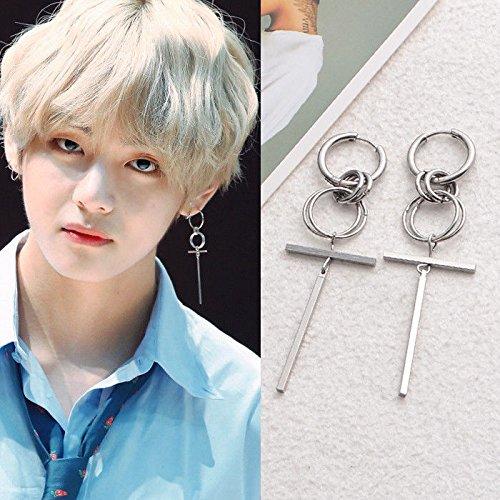 paweena K-pop 1Pair BTS V Earring Bangtan Boys Hoop Earrings BTS Accessories