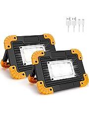 Coquimb Focos LED Exterior, Luz Camping 10W 4 Modos Proyector LED Impermeable Para Reparación de Automóviles, Camping, Senderismo Y Uso de Emergencia (2 Pieza)