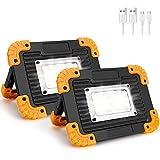 Coquimb Focos LED Exterior,luz Camping 20W 4 Modos Proyector LED Impermeable Para Reparación de Automóviles, Camping, Senderismo Y Uso de Emergencia (2 Pieza)