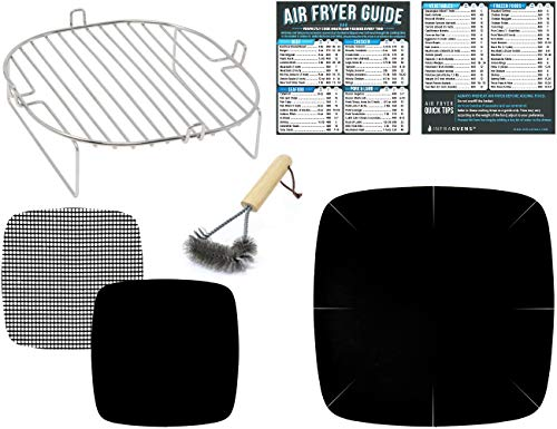 Air Fryer Rack Accessories Compatible with GoWise, Cosori, Power Airfryer Oven, Chefman, Habor, NuWave, CalmDo, Maxi-Matic Elite, Cozyna, Zokop +More | Large Accessory Set with Food Temperature Guide