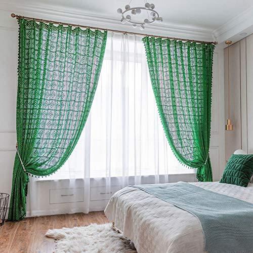 Handu yifu Gehaakte gordijnen, half black-out Frans land diamant patroon, handgemaakt geborduurd 100% linnen katoen, haak kant raam drape gordijn ,1 paneel 180x180cm(71x71inch) groen