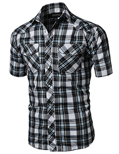 Western Casual Button Down Shirt Black White Blue Size S