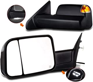 SCITOO fit Dodge Ram Towing Mirrors Black Rear View Mirrors fit 2014-2016 Dodge Ram 1500 2500 3500 Truck with Larger Glass Power Control, Heated Turn Signal Puddle Light Manual Flip up and Folding