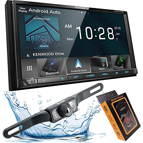 Kenwood DMX Double DIN 6.95' WVGA Digital Media Receiver with Apple CarPlay & Android Auto with HD Backup Camera and Magnet Phone Holder