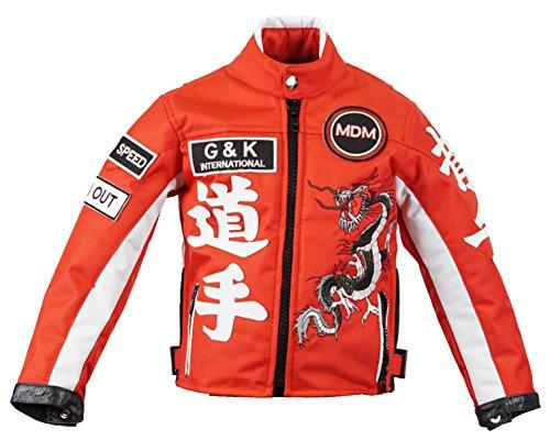 MDM Motorradjacke für Kinder in rot, Bikerjacke, Drachen Jacke, (L)