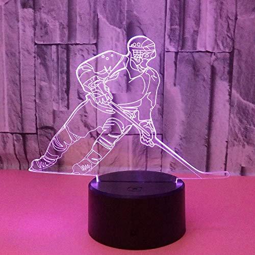 LLLKKK Lámpara de lectura multicolor con inclinación 3D del jugador de hockey, lámpara LED estéreo, mando a distancia, USB para escritorio, decoración creativa de regalo