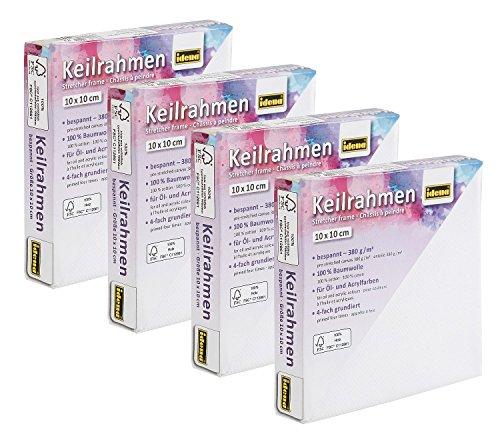 Idena 10107317 - Keilrahmen, 10 x 10 cm, 4-er Set, 100% FSC