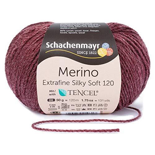 Schachenmayr since 1822 Merino Extrafine Silky Soft 120, 9807567-00533, color: Merlot, presentación: 50g, Hilos para tejer a mano