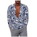D-Rings Camisa de manga larga para hombre, estilo informal, algodón y lino, camisa de manga larga, camisa de verano, con estampado, camiseta de corte regular, azul, XL