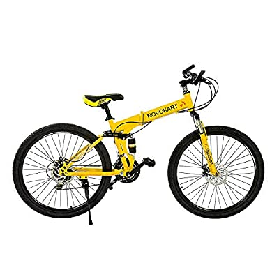 DOMDIL 26in Folding Mountain Bike 21 Speed Sport Bicycle for Men/Women Full Suspension MTB with Disc Brakes,Yellow