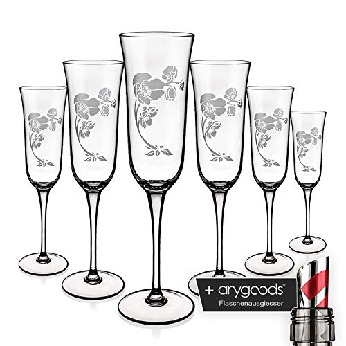 6x Perrier Jouet Cristal Vasos 0,1L Champán Champán Cristal inoxidable + anygoods Botella vertedor