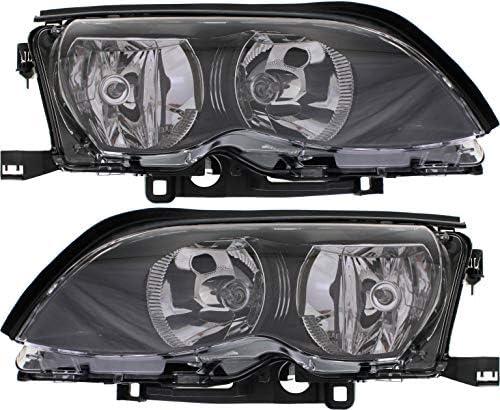 Evan-Fischer Headlight Compatible with BMW 3-SERIES 02-05 RH Passenger Side Assembly Halogen Black Interior Sedan/Wagon