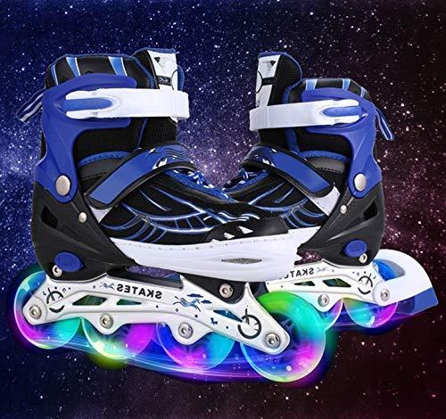 Hiriyt Leucht PU Räder Inline-Skates, Rollerblades für Kinder, größenverstellbar von 31 bis 42, ideal für Anfänger, komfortable Rollschuhe, Inliner für Mädchen und Jungen (Blau, EU 31-34)