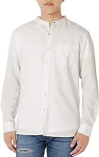 [eONE(イーワン)] バンドカラーシャツ シャツ リネン ノーカラー 長袖 メンズ 【襟なしシンプルおしゃれ】
