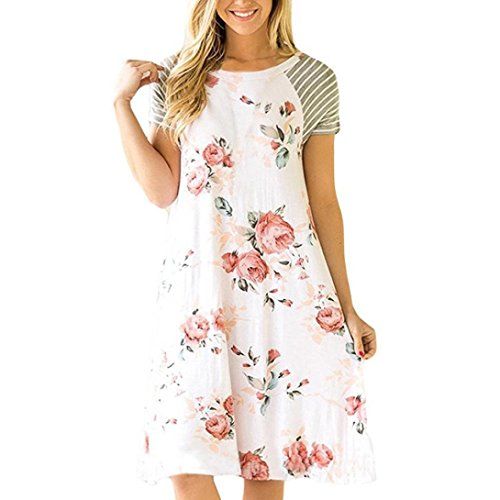 Dresses for Women, FORUU Floral Printed Short Striped Sleeve A-line Casual Loose White