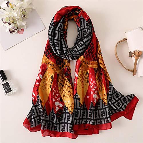 MYTJG Lady sjaal dames mode zijden sjaal elegante Lady Print sjaal tas vrouwelijke sjaal strand sjaal comfortabel