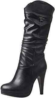 Womens High Heel Platform Mid Calf Cowboy Boots Ladies Slouch Western Boots