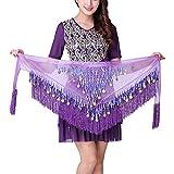 Jlong Women Belly Dance Hip Scarf Coins Sequins Triangle Tassel Belt Wrap