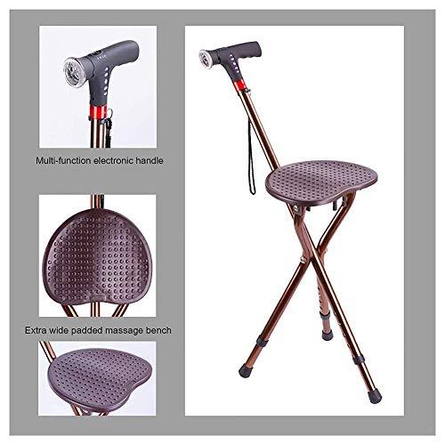 Elderly Walking Stick Chair, Dreibeiniger Klappstock Aus Aluminiumlegierung, Faltbarer Zweifach-Walker Mit Intelligenter Taschenlampe + Alarm + Radio