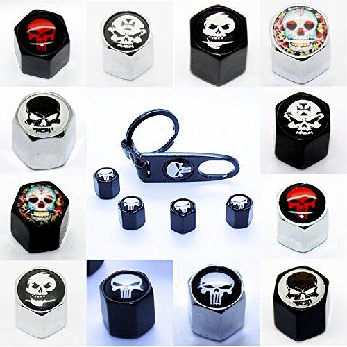 LED-Mafia 4 Ventilkappen + Schlüsselanhänger - Totenkopf Black Chrom - Ventil Anhänger Schlüsselring Etui Schlüssel (Totenkopf Black Red Skull)