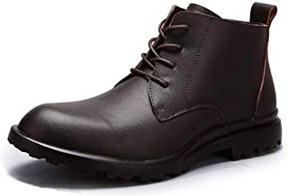 Skbiubiu Ankle Boots for Men High Top Shoes Lace Up Genuine Leather Classic Fashion Boot Wear-resistant Round Toe Pull Tab Solid Color` (Color : Brown, Size : 46 EU)