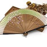 JIAWEIDAMAI Abanico de seda japonés Sakura pintura abanico plegable con bolsa de regalo borla regalos de boda para invitados fiesta