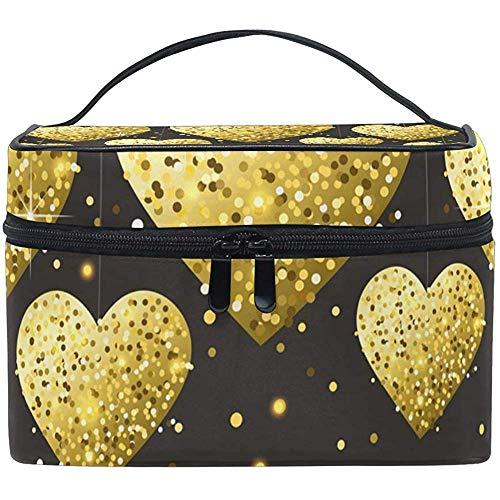Sac cosmétique Black Star Golden Heart trousse de maquillage pour les femmes Sac cosmétique trousse de toilette train