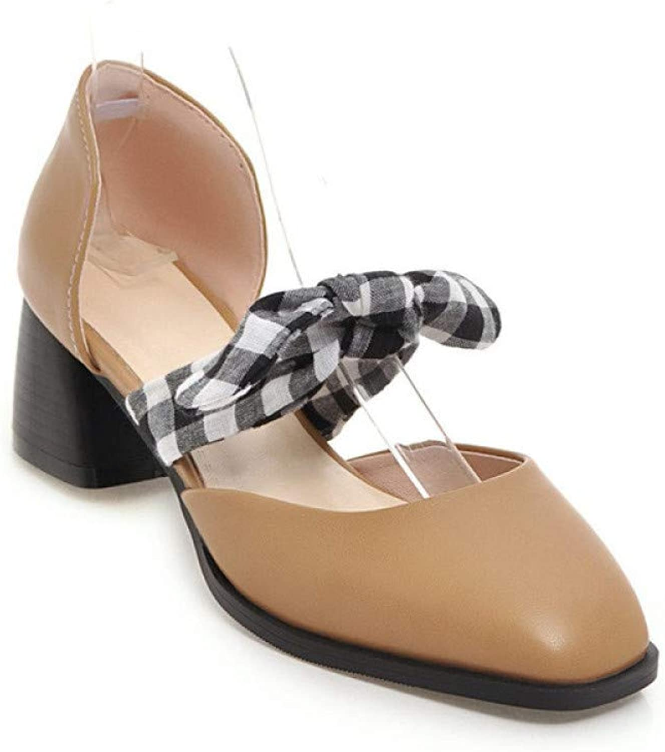 Women Closed Toe Sandals Fashion Ladies High Heels Pu Bow Plaid Work shoes,Apricot,41
