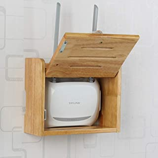xxz Estante Flotante para componentes de TV,Rack de enrutador inalámbrico,Caja de Almacenamiento WiFi de Madera Maciza mon...