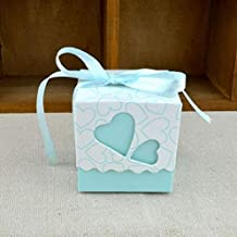 BEESCLOVER Free Shipping 100pcs Square Wedding Favor Boxes Wedding Candy Box Wedding Favors and Gifts Event & Party Supplies Blue One Size