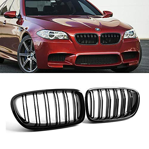 SNA F10 Grille, Front Kidney Grill for 2010-2016 BMW 5 Series F10 F11 And F10 M5 (Double Slats Gloss Black Grill, 2-pc Set)