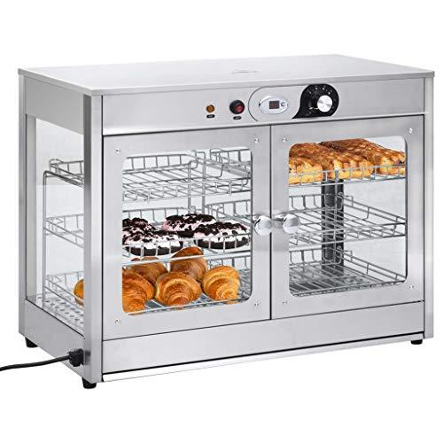 Cikonielf Chauffe-Plat électrique Affichage Commercial de réchauffeur de Nourriture avec 2 étagères Amovibles à 3 Niveaux et Une Lampe, 66,6 x 35,5 x 52,2 cm