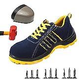 Hombre Zapatillas de Seguridad con Punta de Acero Antideslizante Transpirable Zapatos de Trabajo Calzado de Trabajo Deportivos Botas de Protección Comodas Zapatillas de Senderismo,44