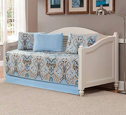 Luxury Home Collection 5 Piece Daybed Quilted Reversible Coverlet Bedspread Set Floral Printed Blue Taupe