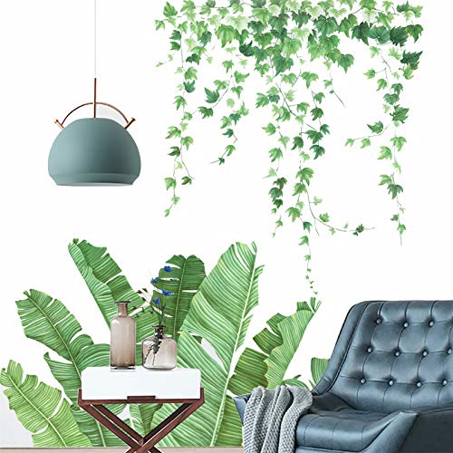 Wandtattoo Palme Grüne Pflanze, TANOSAN DIY Wandtattoo Blätter Grün Tropische Pflanzen Wandsticker Wanddeko, Deko für Wohn-Schlafzimmer Kinderzimmer Küche Flur