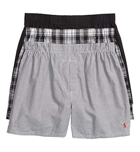 Polo Ralph Lauren Classic Fit 3 Packaged Woven Boxers Bengal Stripe/Stockton Plaid/Polo Black MD