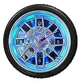 Foxom 35×35×8CM Reifen Design Geräuschlos Wanduhren mit LED Licht (Schwarz)